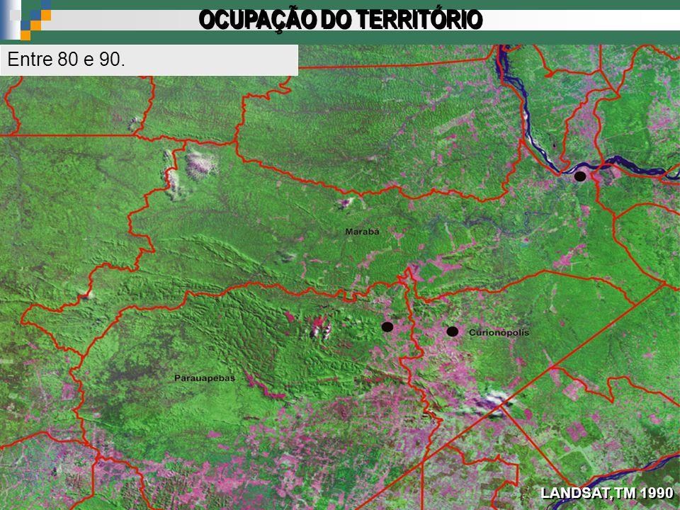 LANDSAT,TM 1990 OCUPAÇÃO DO TERRITÓRIO Entre 80 e 90.