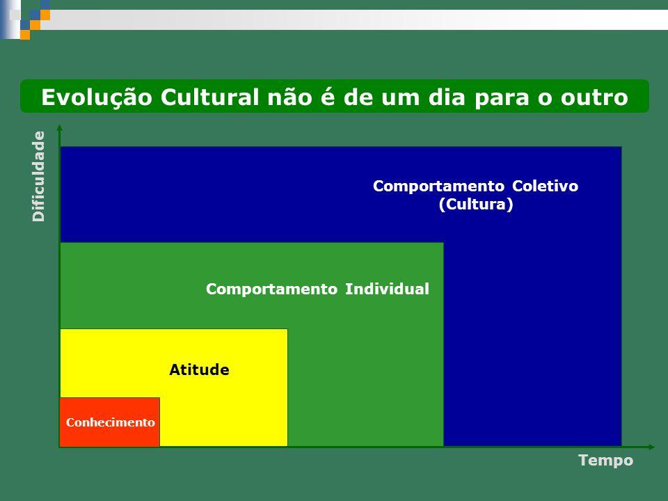 Dificuldade Tempo Conhecimento Atitude Comportamento Individual Comportamento Coletivo (Cultura) Evolução Cultural não é de um dia para o outro