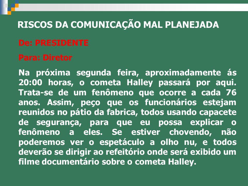 De: PRESIDENTE Para: Diretor Na próxima segunda feira, aproximadamente ás 20:00 horas, o cometa Halley passará por aqui. Trata-se de um fenômeno que o