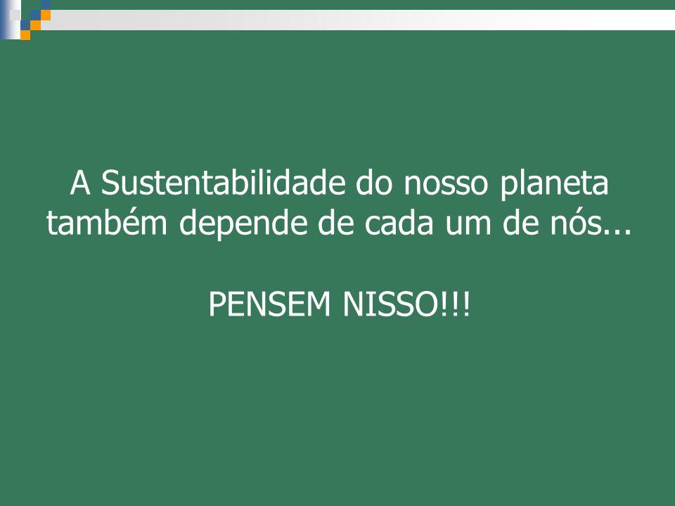 A Sustentabilidade do nosso planeta também depende de cada um de nós... PENSEM NISSO!!!