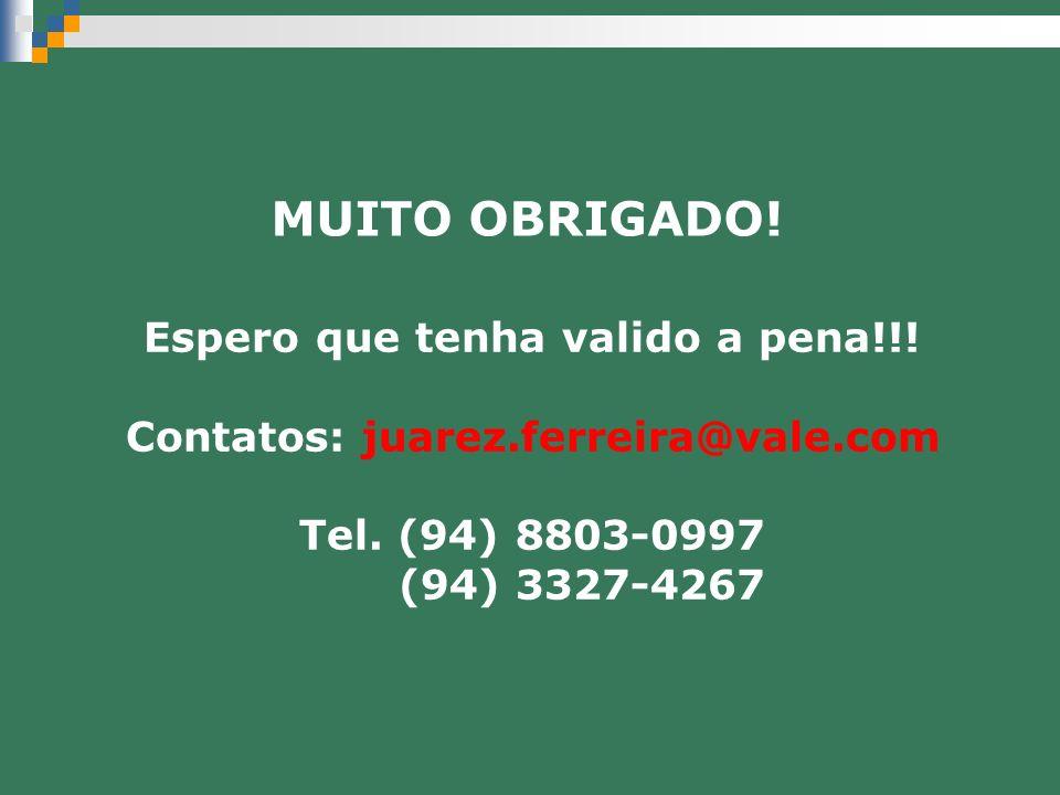 Espero que tenha valido a pena!!! Contatos: juarez.ferreira@vale.com Tel. (94) 8803-0997 (94) 3327-4267 MUITO OBRIGADO!