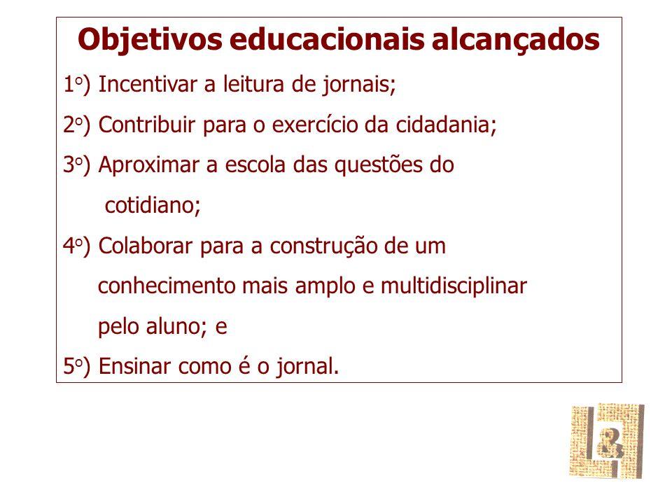 Objetivos educacionais alcançados 1 o ) Incentivar a leitura de jornais; 2 o ) Contribuir para o exercício da cidadania; 3 o ) Aproximar a escola das questões do cotidiano; 4 o ) Colaborar para a construção de um conhecimento mais amplo e multidisciplinar pelo aluno; e 5 o ) Ensinar como é o jornal.