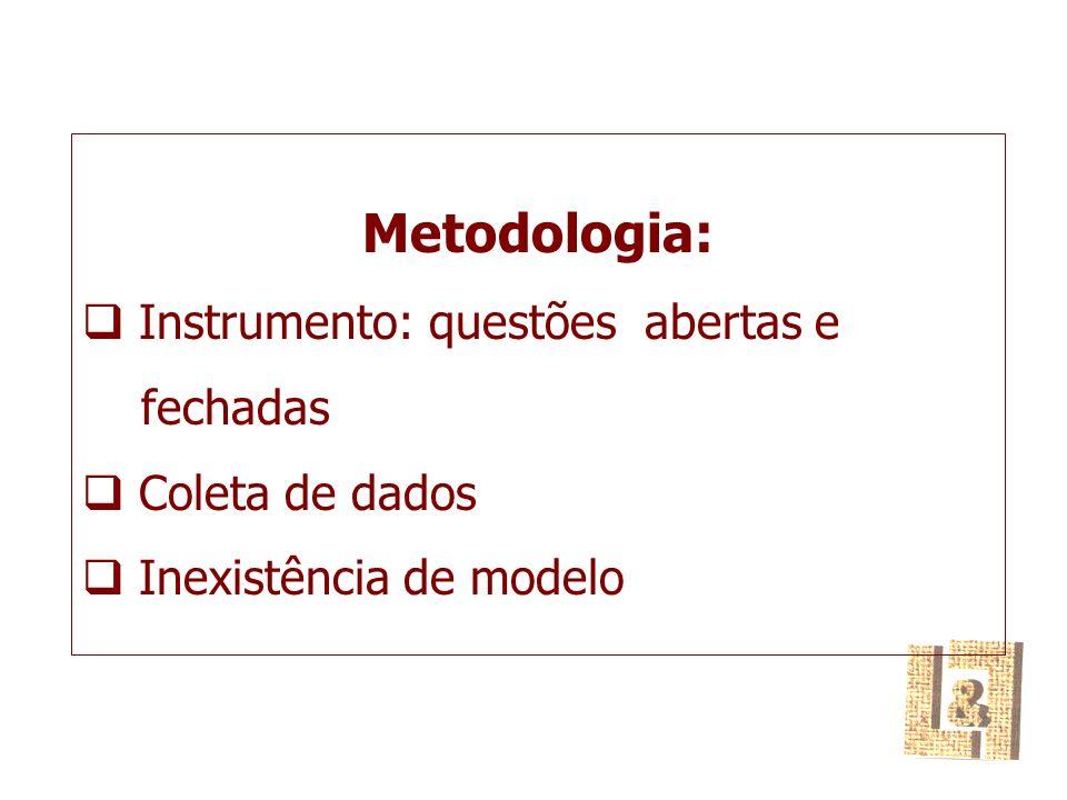 Metodologia: Instrumento: questões abertas e fechadas Coleta de dados Inexistência de modelo