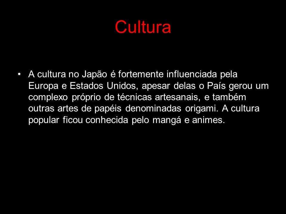 Cultura A cultura no Japão é fortemente influenciada pela Europa e Estados Unidos, apesar delas o País gerou um complexo próprio de técnicas artesanai