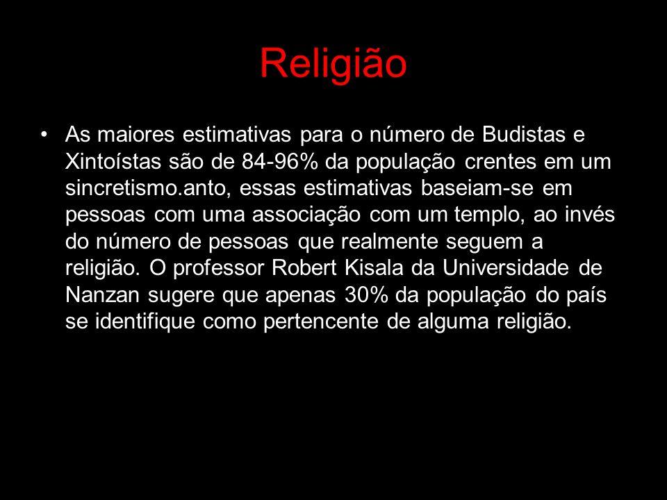 Religião As maiores estimativas para o número de Budistas e Xintoístas são de 84-96% da população crentes em um sincretismo.anto, essas estimativas ba