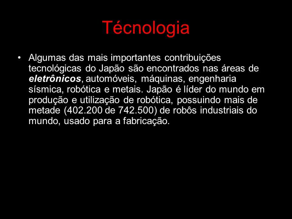 Técnologia Algumas das mais importantes contribuições tecnológicas do Japão são encontrados nas áreas de eletrônicos, automóveis, máquinas, engenharia