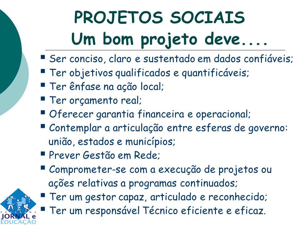 PROJETOS SOCIAIS Um bom projeto deve.... Ser conciso, claro e sustentado em dados confiáveis; Ter objetivos qualificados e quantificáveis; Ter ênfase