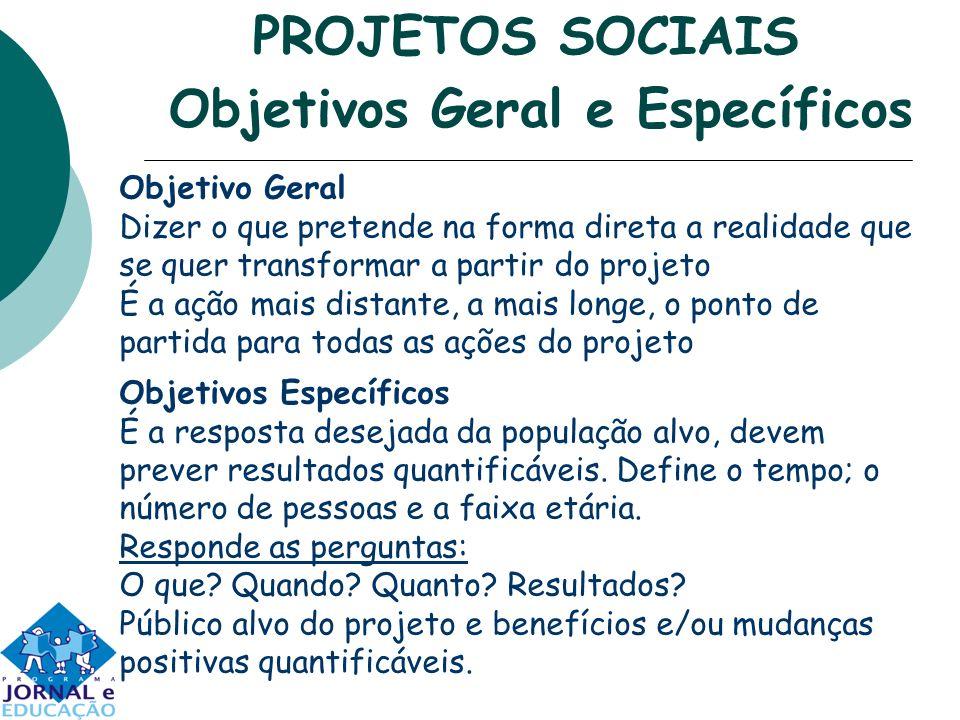 PROJETOS SOCIAIS Objetivos Geral e Específicos Objetivo Geral Dizer o que pretende na forma direta a realidade que se quer transformar a partir do pro