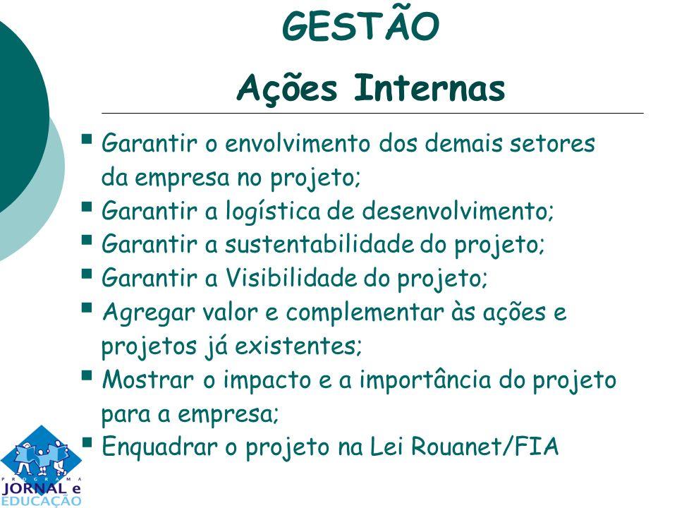 Garantir o envolvimento dos demais setores da empresa no projeto; Garantir a logística de desenvolvimento; Garantir a sustentabilidade do projeto; Gar
