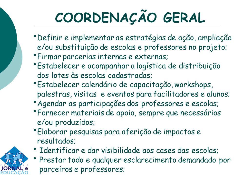 COORDENAÇÃO GERAL Definir e implementar as estratégias de ação, ampliação e/ou substituição de escolas e professores no projeto; Firmar parcerias inte