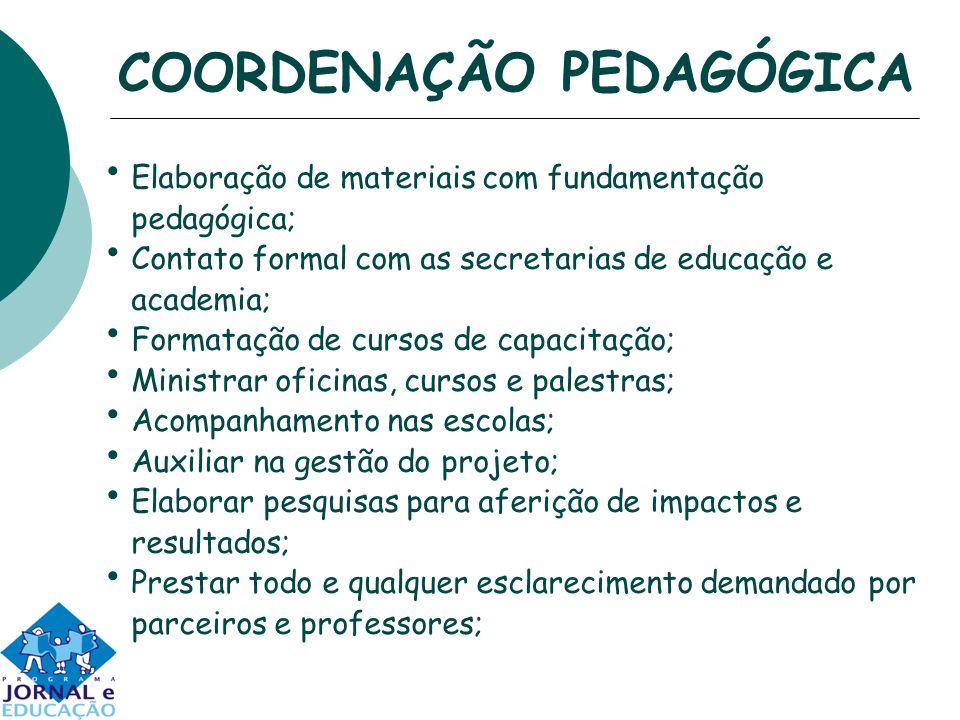 COORDENAÇÃO PEDAGÓGICA Elaboração de materiais com fundamentação pedagógica; Contato formal com as secretarias de educação e academia; Formatação de c