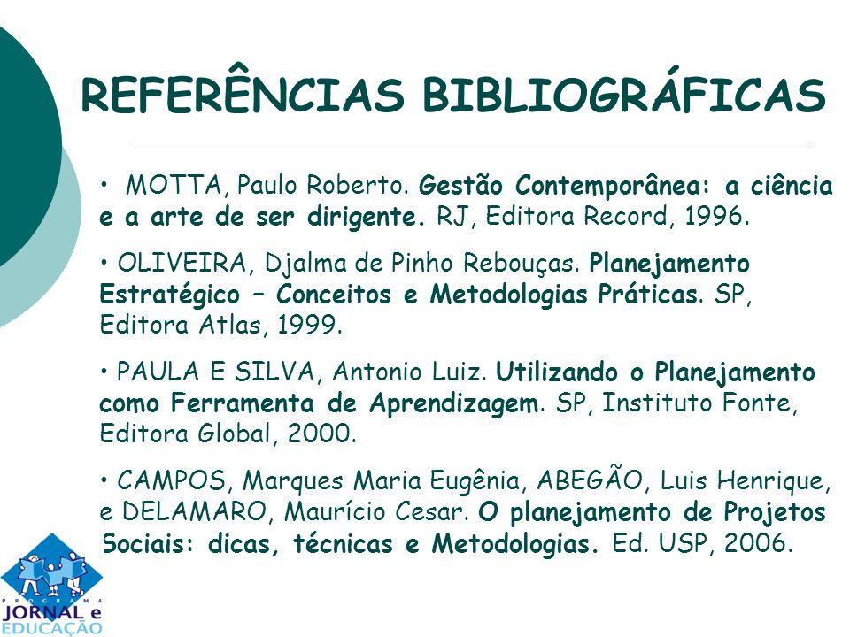 REFERÊNCIAS BIBLIOGRÁFICAS MOTTA, Paulo Roberto. Gestão Contemporânea: a ciência e a arte de ser dirigente. RJ, Editora Record, 1996. OLIVEIRA, Djalma