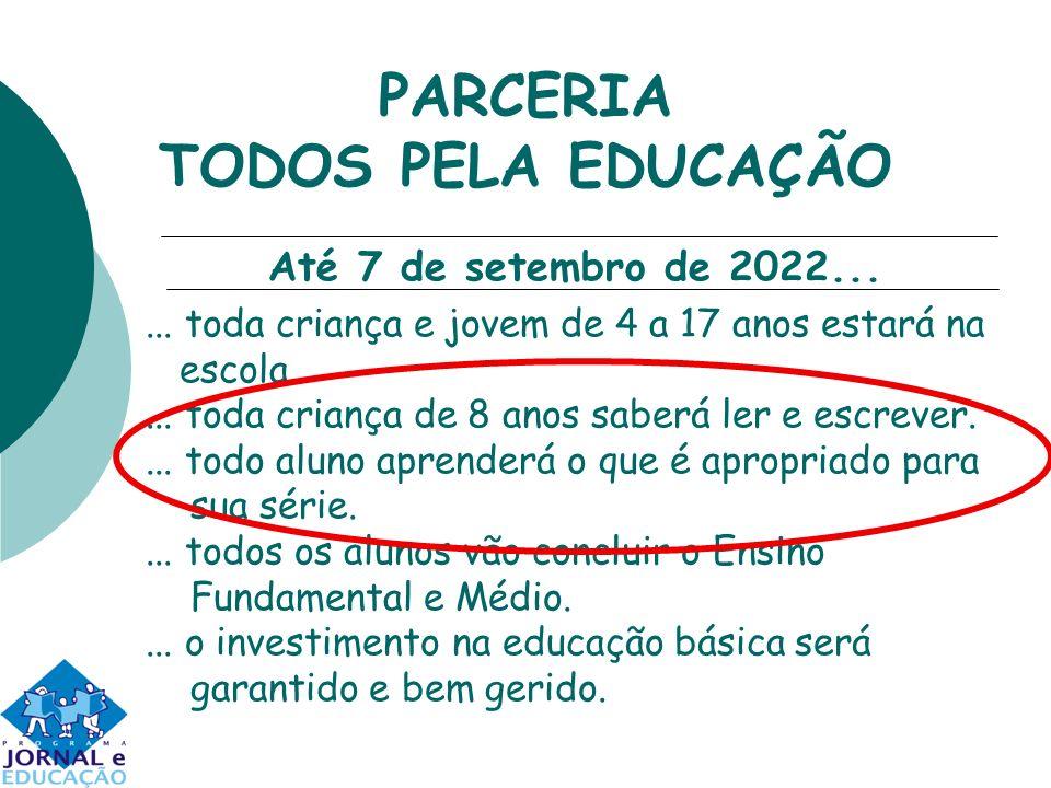 PARCERIA TODOS PELA EDUCAÇÃO... toda criança e jovem de 4 a 17 anos estará na escola.... toda criança de 8 anos saberá ler e escrever.... todo aluno a