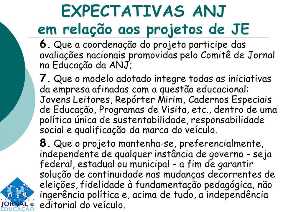 EXPECTATIVAS ANJ em relação aos projetos de JE 6. Que a coordenação do projeto participe das avaliações nacionais promovidas pelo Comitê de Jornal na