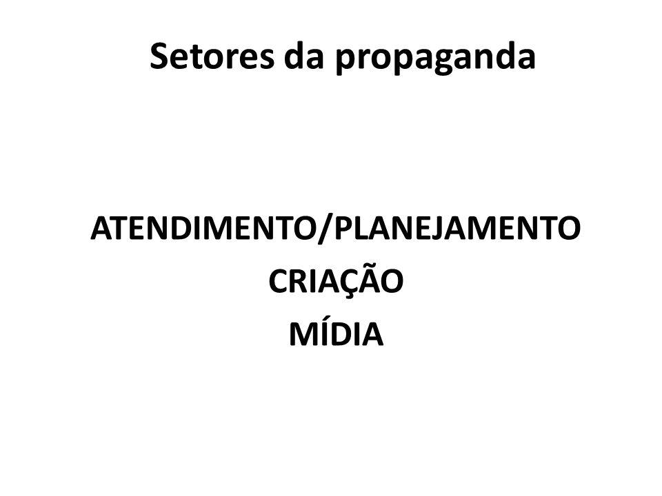 Setores da propaganda ATENDIMENTO/PLANEJAMENTO CRIAÇÃO MÍDIA