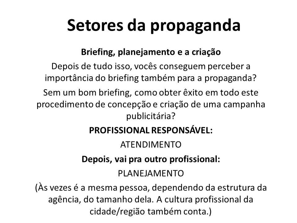 Setores da propaganda Briefing, planejamento e a criação Depois de tudo isso, vocês conseguem perceber a importância do briefing também para a propaga
