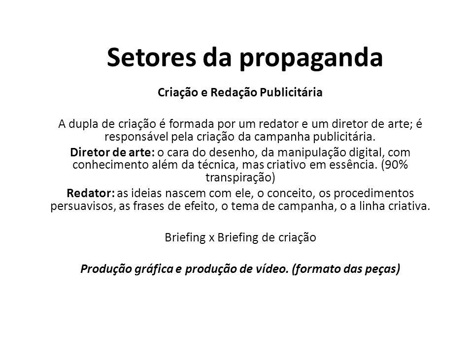 Setores da propaganda Criação e Redação Publicitária A dupla de criação é formada por um redator e um diretor de arte; é responsável pela criação da c