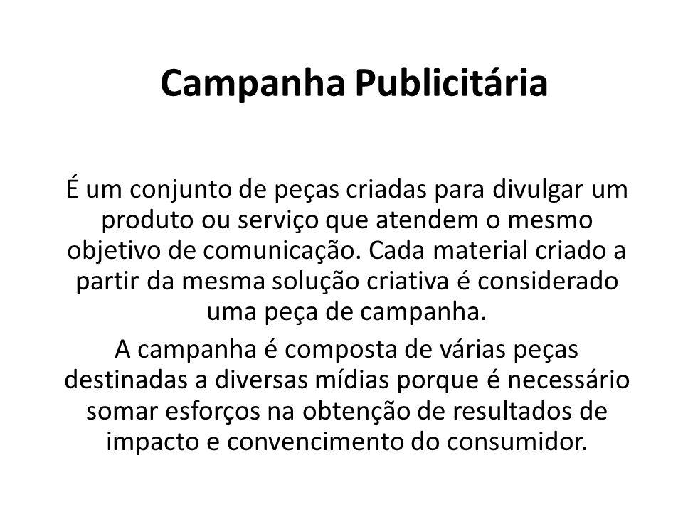 Campanha Publicitária É um conjunto de peças criadas para divulgar um produto ou serviço que atendem o mesmo objetivo de comunicação. Cada material cr