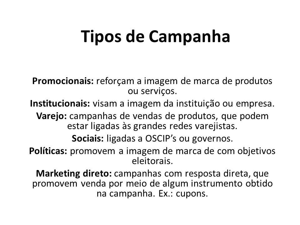 Tipos de Campanha Promocionais: reforçam a imagem de marca de produtos ou serviços. Institucionais: visam a imagem da instituição ou empresa. Varejo: