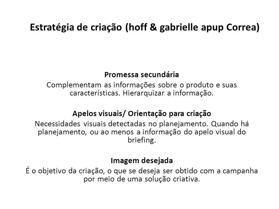 Estratégia de criação (hoff & gabrielle apup Correa) Promessa secundária Complementam as informações sobre o produto e suas características. Hierarqui