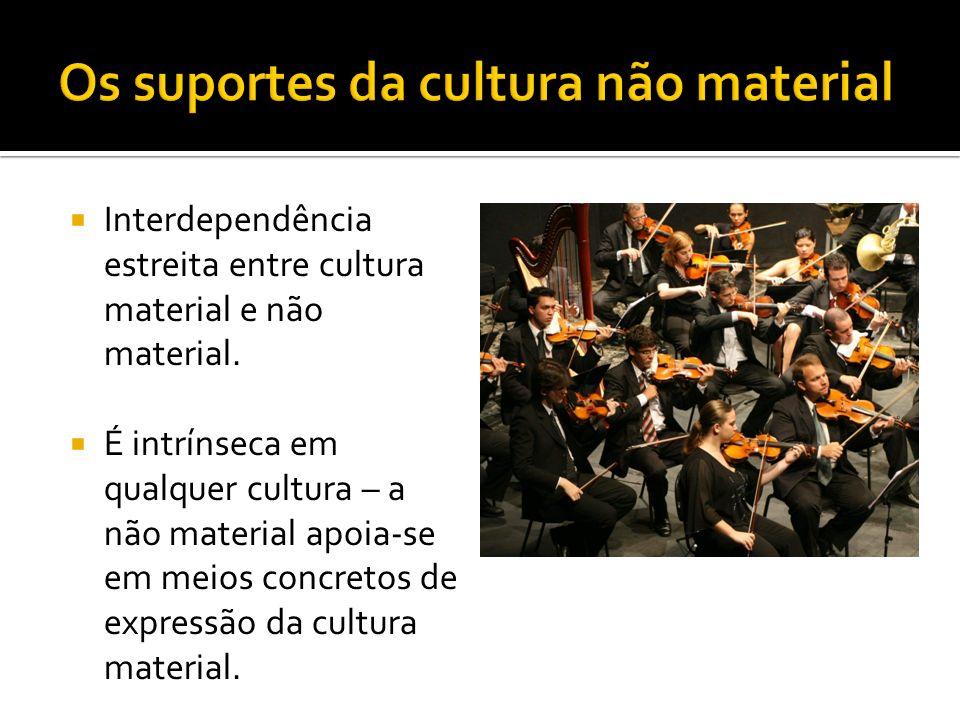 Interdependência estreita entre cultura material e não material. É intrínseca em qualquer cultura – a não material apoia-se em meios concretos de expr