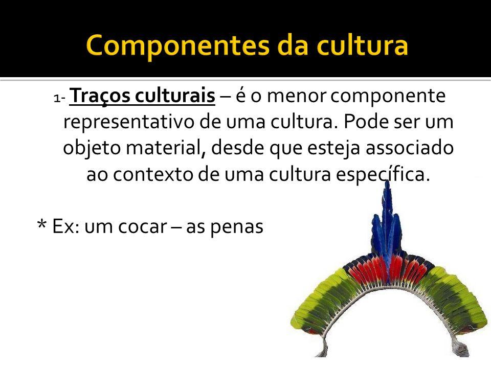 1- Traços culturais – é o menor componente representativo de uma cultura. Pode ser um objeto material, desde que esteja associado ao contexto de uma c