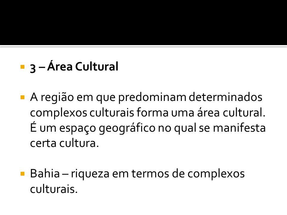 3 – Área Cultural A região em que predominam determinados complexos culturais forma uma área cultural. É um espaço geográfico no qual se manifesta cer