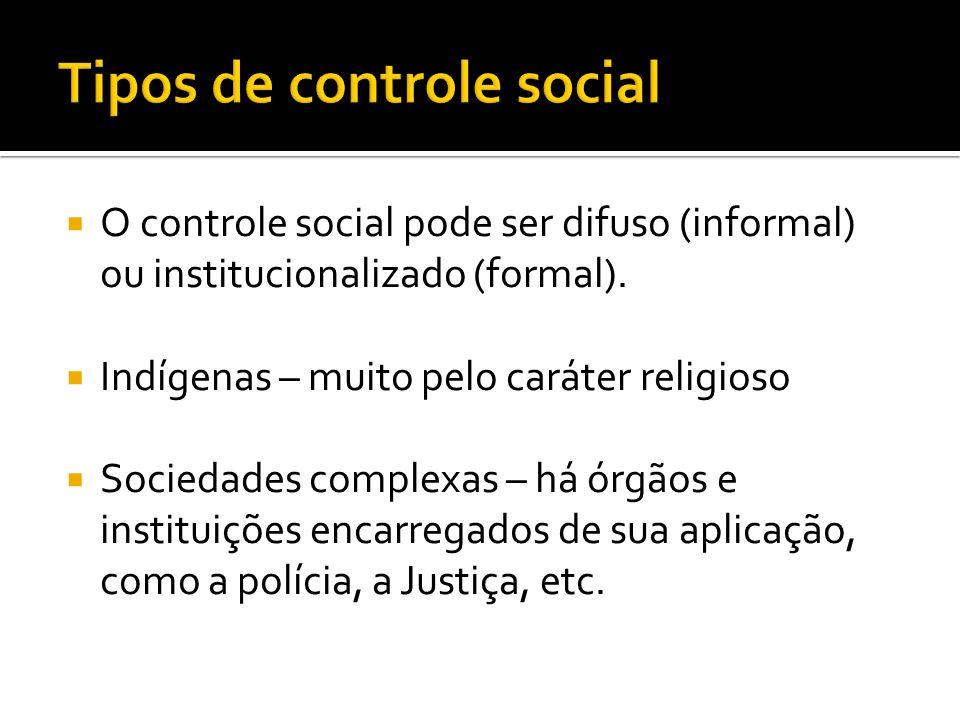 O controle social pode ser difuso (informal) ou institucionalizado (formal). Indígenas – muito pelo caráter religioso Sociedades complexas – há órgãos