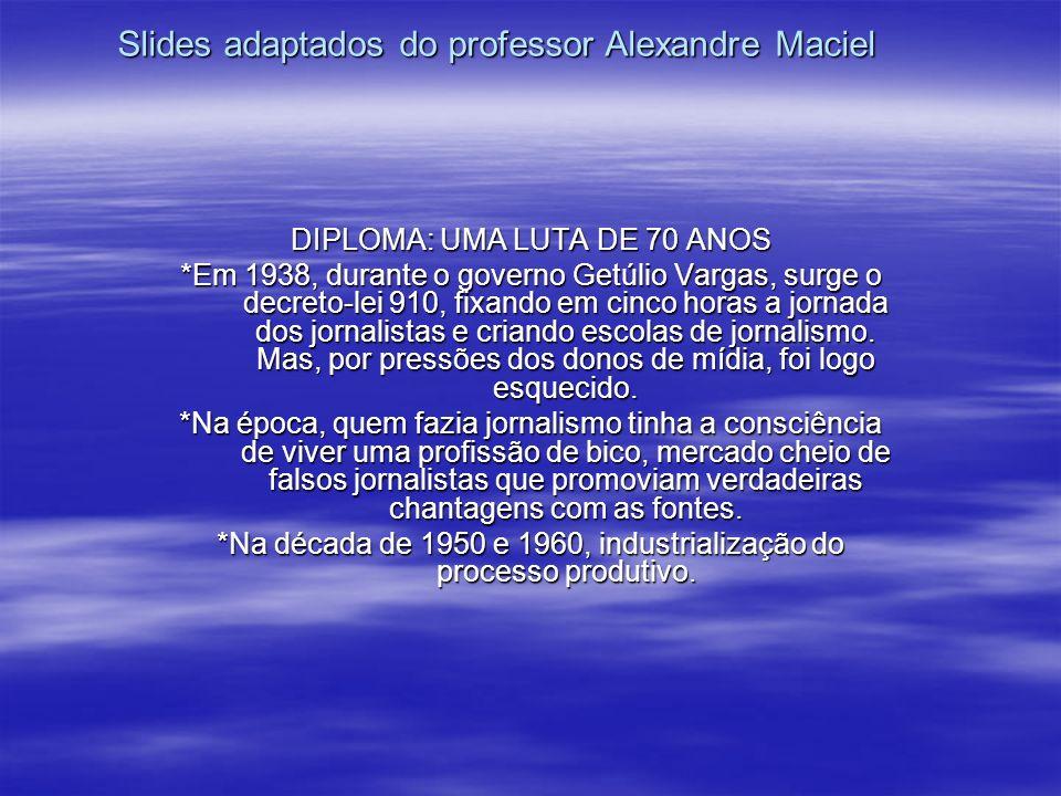 Slides adaptados do professor Alexandre Maciel DIPLOMA: UMA LUTA DE 70 ANOS *Em 1938, durante o governo Getúlio Vargas, surge o decreto-lei 910, fixan