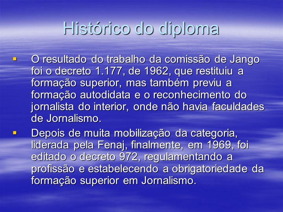 Histórico do diploma O resultado do trabalho da comissão de Jango foi o decreto 1.177, de 1962, que restituiu a formação superior, mas também previu a