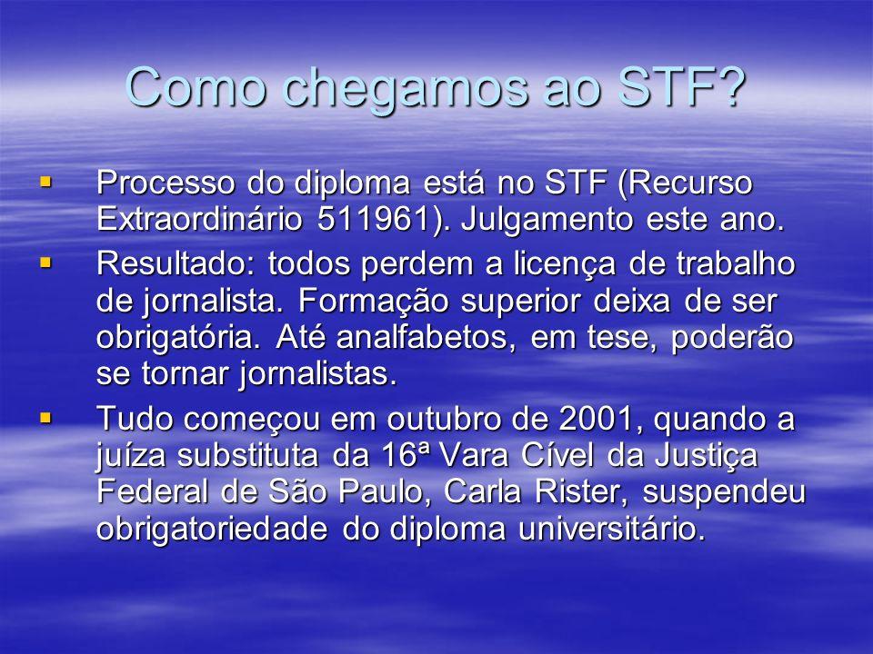 Como chegamos ao STF? Processo do diploma está no STF (Recurso Extraordinário 511961). Julgamento este ano. Processo do diploma está no STF (Recurso E