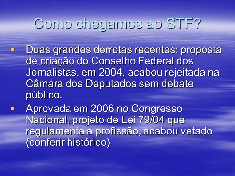 Como chegamos ao STF? Duas grandes derrotas recentes: proposta de criação do Conselho Federal dos Jornalistas, em 2004, acabou rejeitada na Câmara dos