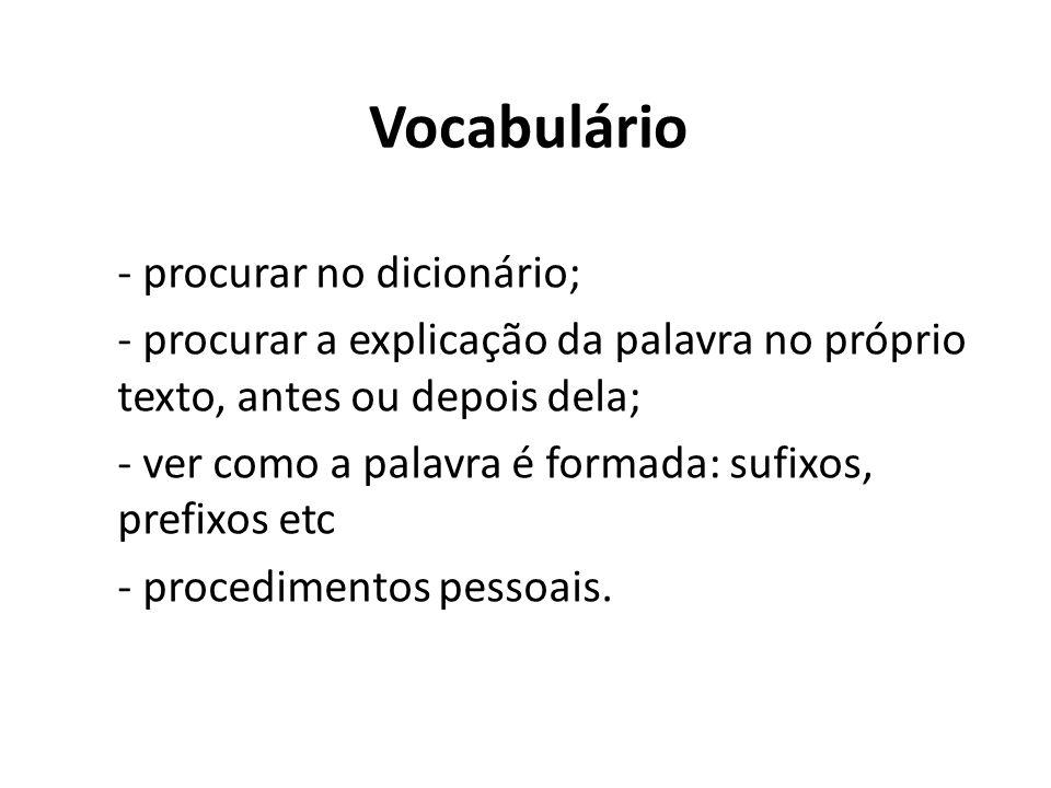 Vocabulário - procurar no dicionário; - procurar a explicação da palavra no próprio texto, antes ou depois dela; - ver como a palavra é formada: sufixos, prefixos etc - procedimentos pessoais.