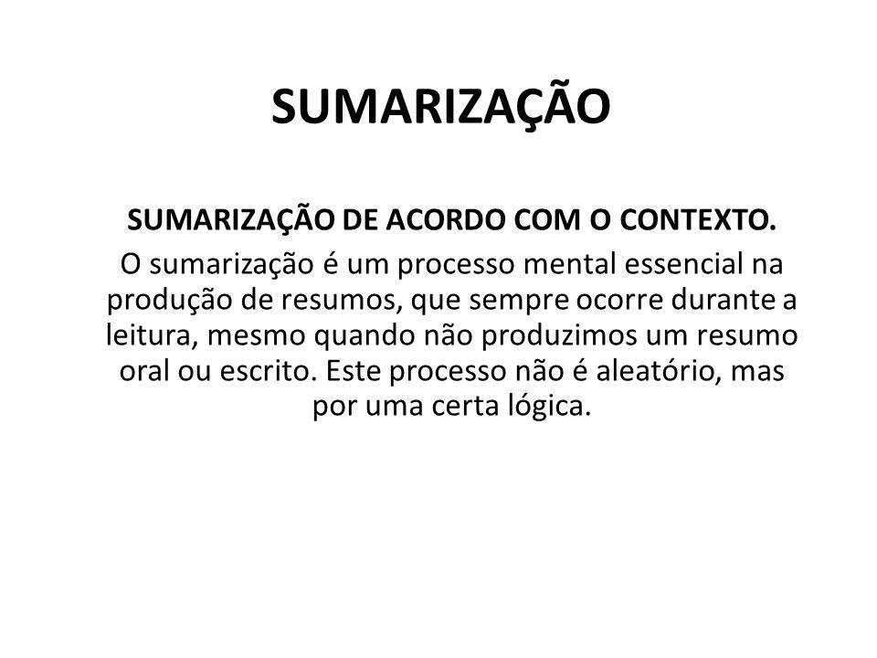 SUMARIZAÇÃO SUMARIZAÇÃO DE ACORDO COM O CONTEXTO.