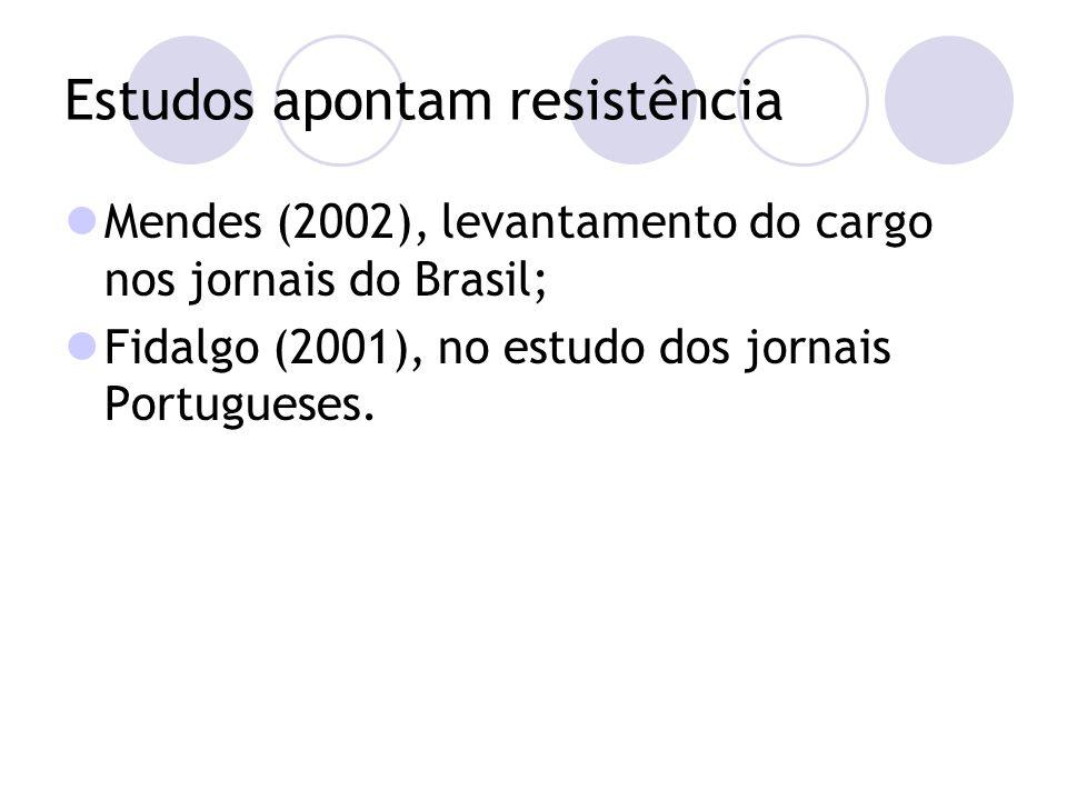 Estudos apontam resistência Mendes (2002), levantamento do cargo nos jornais do Brasil; Fidalgo (2001), no estudo dos jornais Portugueses.
