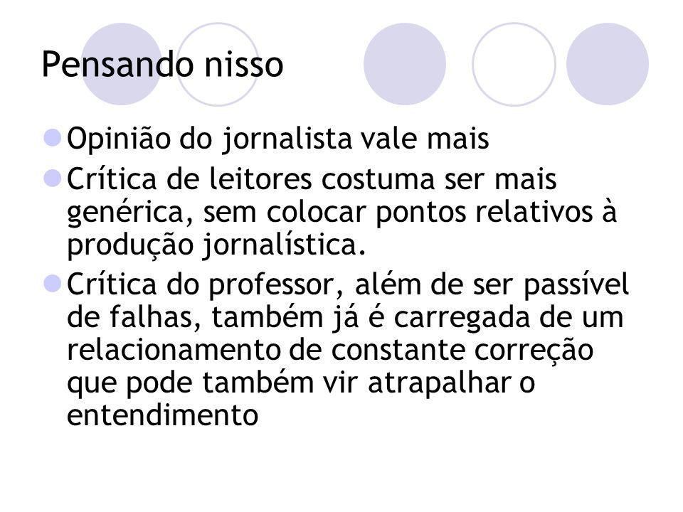 Pensando nisso Opinião do jornalista vale mais Crítica de leitores costuma ser mais genérica, sem colocar pontos relativos à produção jornalística.