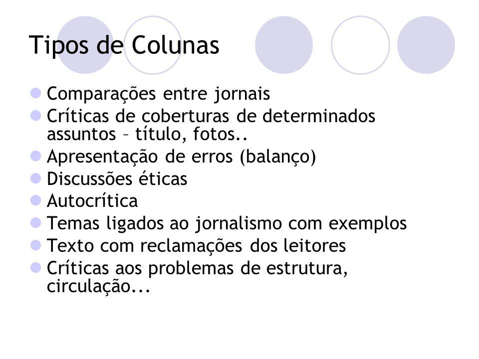Tipos de Colunas Comparações entre jornais Críticas de coberturas de determinados assuntos – título, fotos..