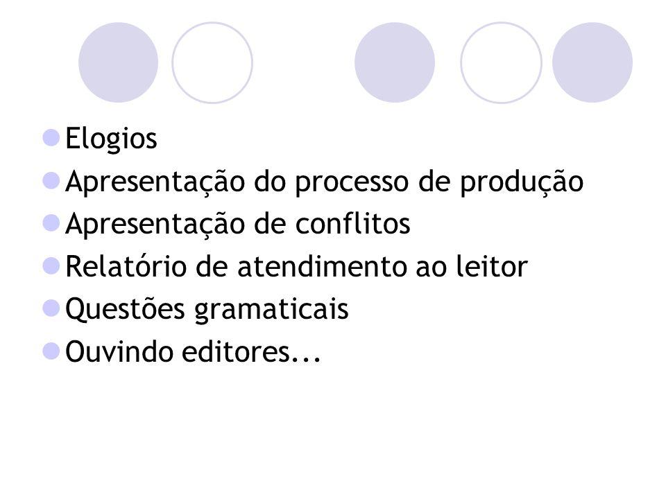 Elogios Apresentação do processo de produção Apresentação de conflitos Relatório de atendimento ao leitor Questões gramaticais Ouvindo editores...