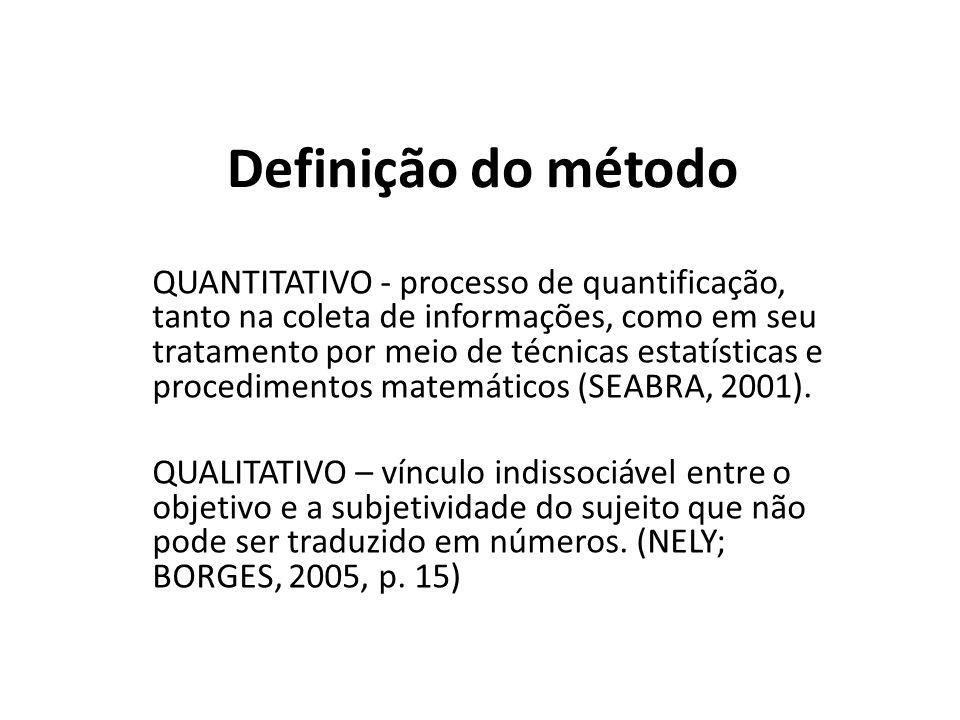 QUANTITATIVO - processo de quantificação, tanto na coleta de informações, como em seu tratamento por meio de técnicas estatísticas e procedimentos mat