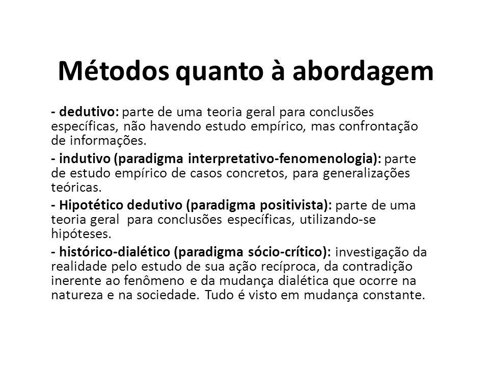 - dedutivo: parte de uma teoria geral para conclusões específicas, não havendo estudo empírico, mas confrontação de informações. - indutivo (paradigma