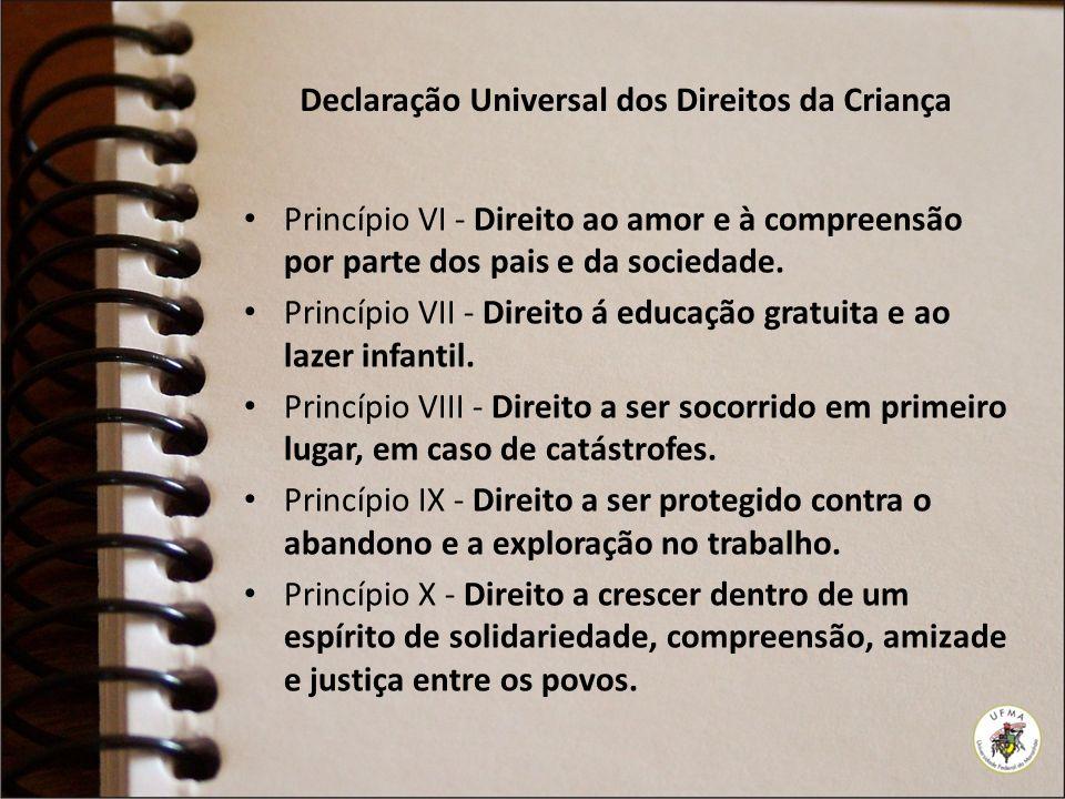 Declaração Universal dos Direitos da Criança Princípio VI - Direito ao amor e à compreensão por parte dos pais e da sociedade. Princípio VII - Direito