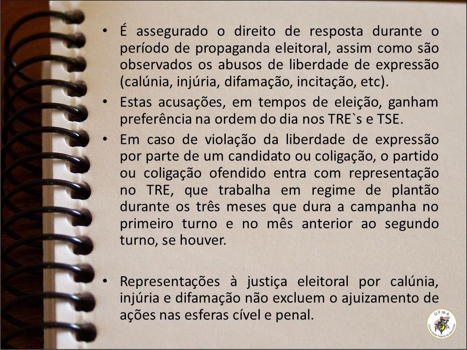 É assegurado o direito de resposta durante o período de propaganda eleitoral, assim como são observados os abusos de liberdade de expressão (calúnia, injúria, difamação, incitação, etc).