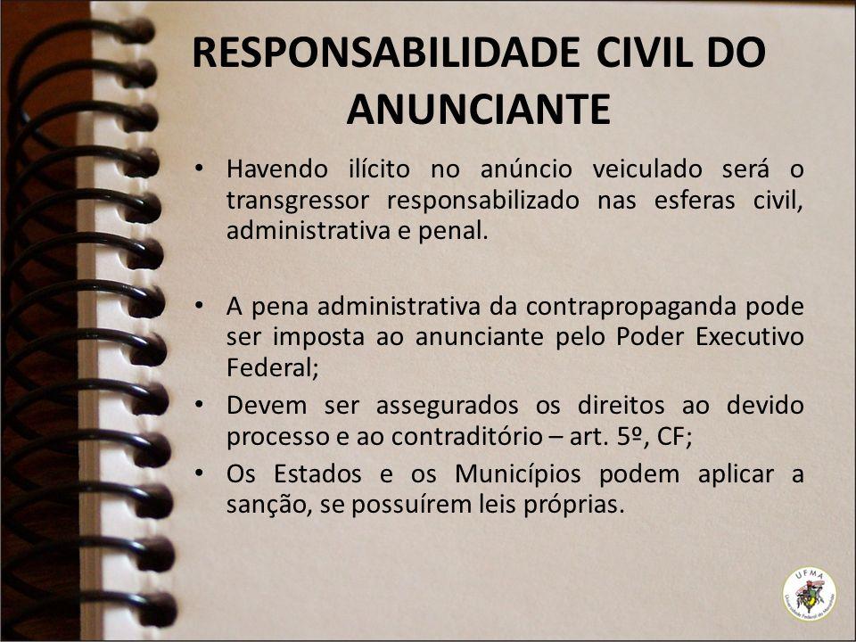 RESPONSABILIDADE CIVIL DO ANUNCIANTE Havendo ilícito no anúncio veiculado será o transgressor responsabilizado nas esferas civil, administrativa e penal.