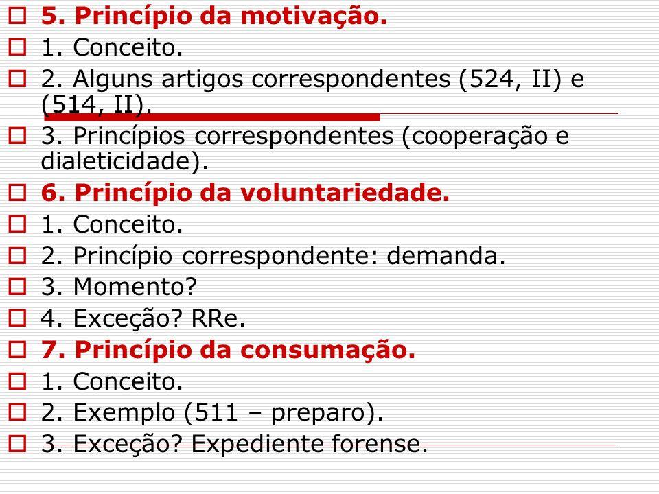 5. Princípio da motivação. 1. Conceito. 2. Alguns artigos correspondentes (524, II) e (514, II). 3. Princípios correspondentes (cooperação e dialetici