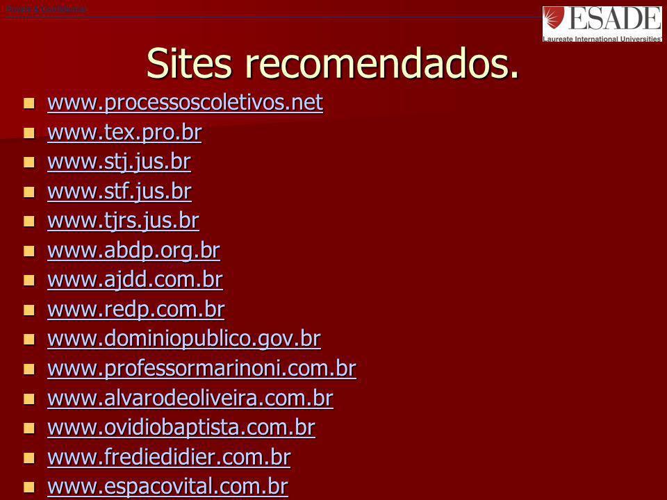Sites recomendados. www.processoscoletivos.net www.processoscoletivos.net www.processoscoletivos.net www.tex.pro.br www.tex.pro.br www.tex.pro.br www.