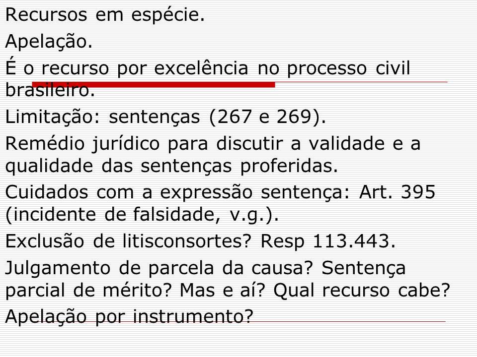 Recursos em espécie. Apelação. É o recurso por excelência no processo civil brasileiro. Limitação: sentenças (267 e 269). Remédio jurídico para discut