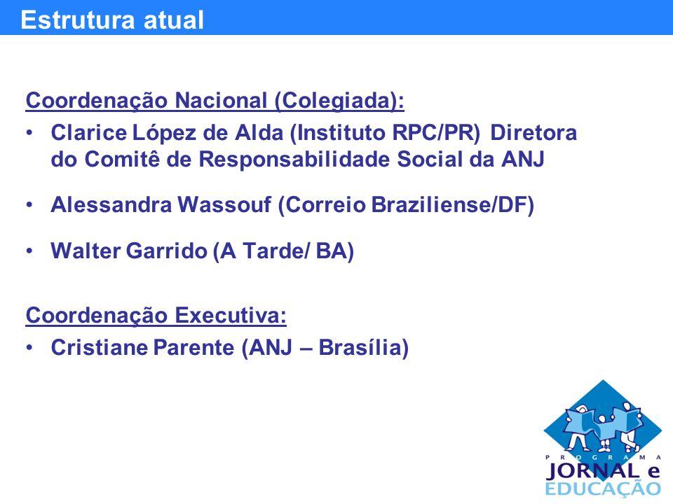 Coordenação Nacional (Colegiada): Clarice López de Alda (Instituto RPC/PR) Diretora do Comitê de Responsabilidade Social da ANJ Alessandra Wassouf (Correio Braziliense/DF) Walter Garrido (A Tarde/ BA) Coordenação Executiva: Cristiane Parente (ANJ – Brasília) Estrutura atual