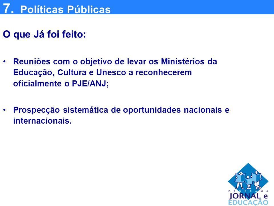 7. Políticas Públicas O que Já foi feito: Reuniões com o objetivo de levar os Ministérios da Educação, Cultura e Unesco a reconhecerem oficialmente o
