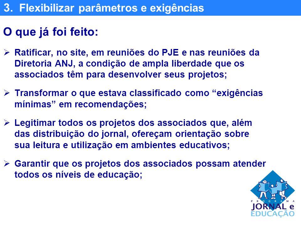 3. Flexibilizar parâmetros e exigências O que já foi feito: Ratificar, no site, em reuniões do PJE e nas reuniões da Diretoria ANJ, a condição de ampl