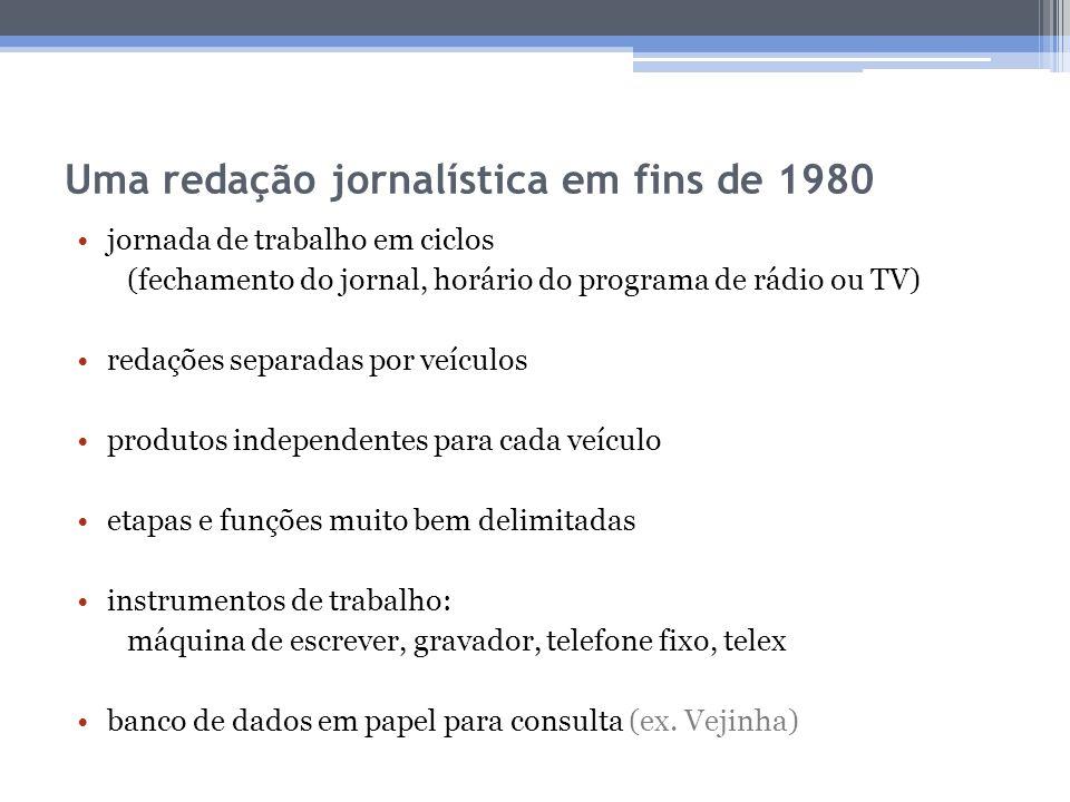 Uma redação jornalística em fins de 1980 jornada de trabalho em ciclos (fechamento do jornal, horário do programa de rádio ou TV) redações separadas p
